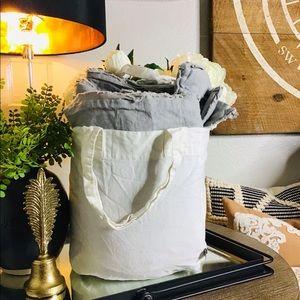 Hearth and hand f/queen linen duvet set gray